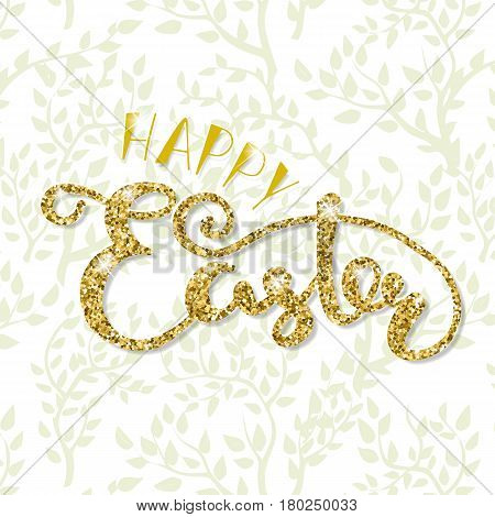 sketched Happy Easter text as card template and for postcard, invitation, poster. Lettering typography. Seasons Greetings