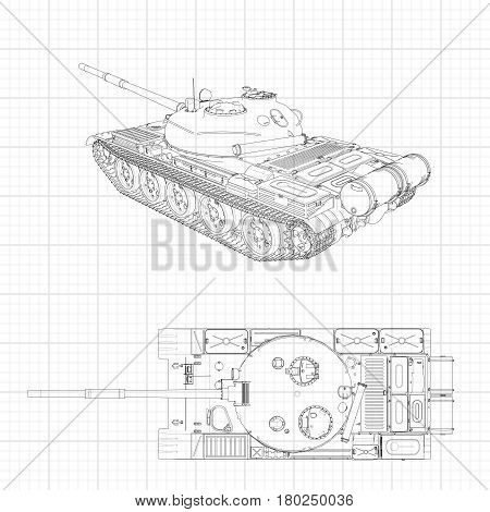 Tank Vector Illustration Eps 10. Military Machine In The Contour Lines On Graph Paper. The Contours