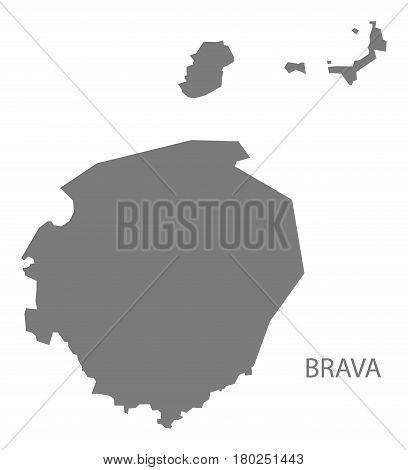 Brava Cape Verde Municipality Map Grey Illustration Silhouette