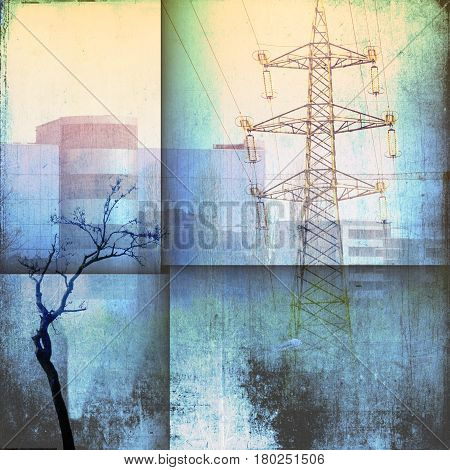 Fantasy architecture skyline with building pylon and bare trees in blue tones.