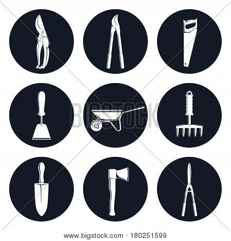 Set of Round Monochrome Icons Garden Tools ,Gardening Trowel and a Hand Hoe, an Axe and a Hand Rake, a Pruning Shear and Loppers, Shrub Shears and a Rip Saw, a Wheelbarrow, Vector Illustration