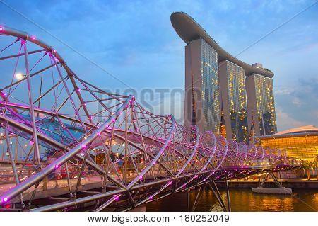 Marina Bay, Helix Bridge, Singapore