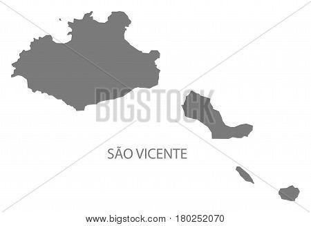Sao Vicente Cape Verde Municipality Map Grey Illustration Silhouette