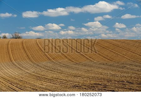 Spring Plowed Field Curves In Countryside
