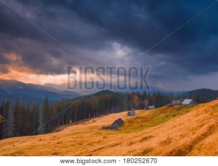 Dark Stormy Clouds Over The Village