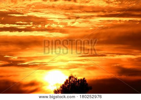 dramatic sunset sky with bizarre dlouds