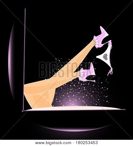 abstract black pink box of powder and female feet with white shoes and underpants