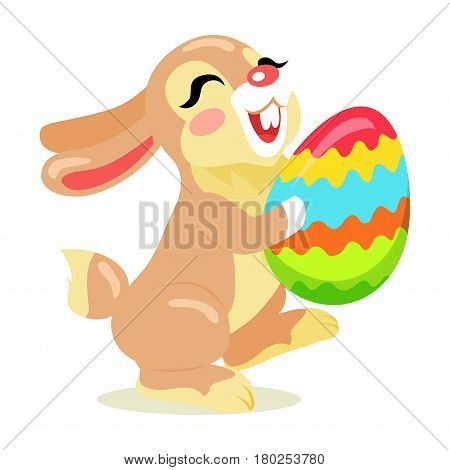 Easter Cheerful Bunny holding painted egg flat design isolated on white. Non-ferrous ball decorated yellow, red, blue, orange and green waves. Vector illustration of funny easter holiday drawn pattern.