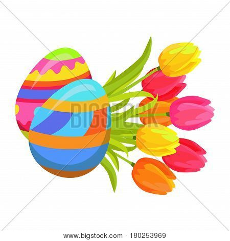 Beautifully colored eggs and festive tulips isolated on white. Yellow, orange and pink flowers with green leaves. Two painted balls decorated with multi-colored paints. Vector illustration easter icon