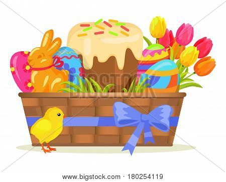 Sweet cake, chocolate bunny, color eggs, yellow chicken on easter. Vector illustration of baked goody, bouquet of spring flowers, painted balls, sugary sweetness, green grass laying in brown basket.