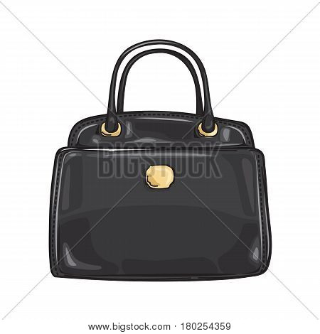 Black lady s bag close-up fashion accessory flat design web banner on background. Trendy accessory of every woman. Vector illustration in cartoon style for infographics, websites and app.