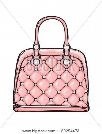 Trendy leather pink women bag with white rivets isolated on background. Fashionable accessory for chic, elegant and casual outfits. Vector illustration of glamorous and smart handbag.