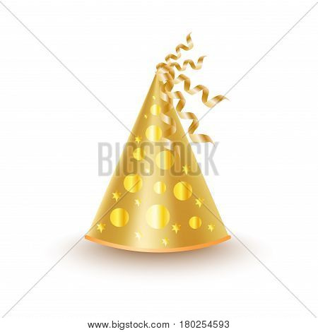 Bright golden festive cap with round circles and stars, ribbon on top isolated on white background. Funny party accessory vector illustration. Holiday headgear for festive mood and having fun.