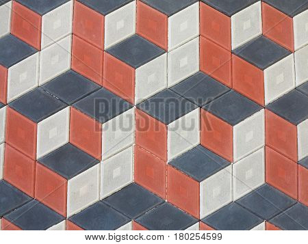 Abstract Geometrical Brick Stone Pavement Black And Red Pattern