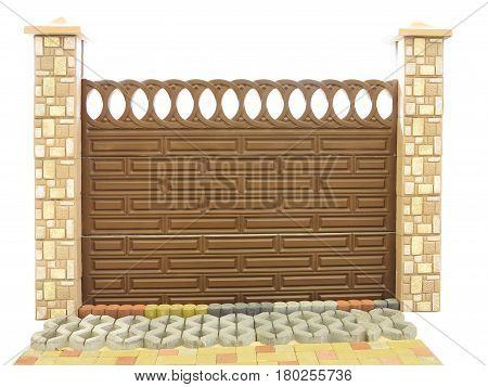 Brown Textured Decoratet Isolated Concrete Fence Isolated Over White