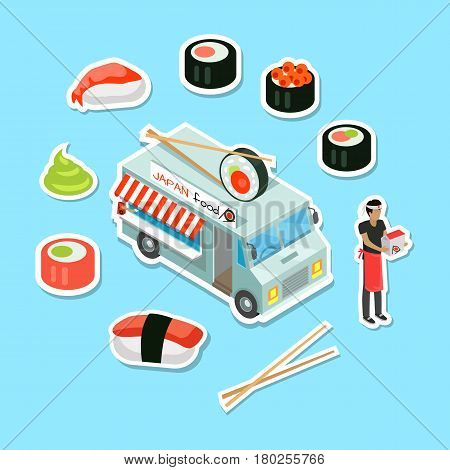 Japan food eatery on wheels. Car van with sushi in chopsticks on roof and deliveryman surrounded fresh sushi rolls and sauce isometric vector illustration. Fast food delivery concept for restaurant ad