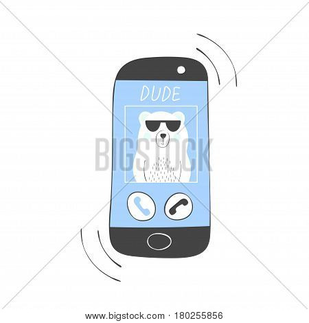 Cool polar bear with call on mobile phone call dude print for boy.