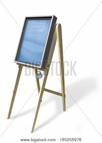 Solar Panel On Wooden Stand Support Isolated Over White Background