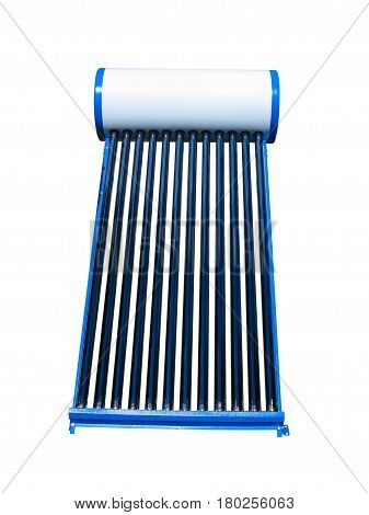 Solar water heat blue pipe collector isolated over white background