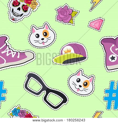 Male rap cap, sport footwear, muzzle of cat, glasses, thunder sign, sticker, diamond, brilliant, hashtag, skull with flowers seamless pattern. Cartoon endless texture. Fabric Flat style Vector
