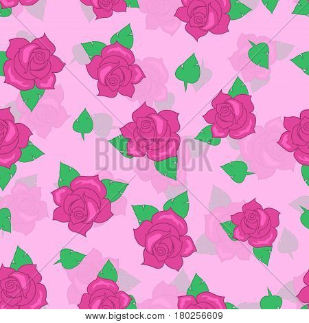 Pink rose with green leaves seamless pattern. Illustration of isolated big blossoms in cartoon style walllpaper, wrapping paper. Fashion decoration endless texture. Floral embellishment. Vector