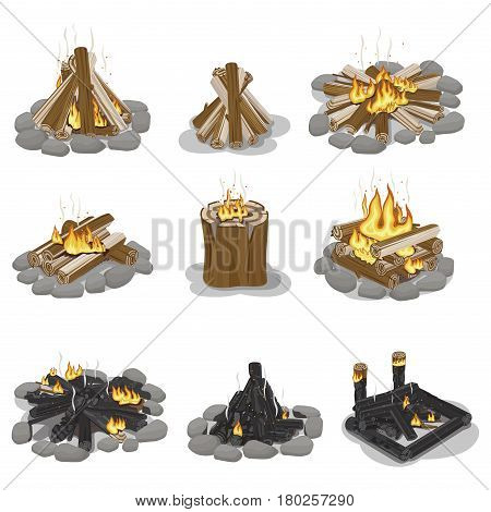 Burning campfire logs collection isolated on white. Vector poster of wood pieces with fire put in various positions with and without grey stones. Touristic burning firewood set in flat design