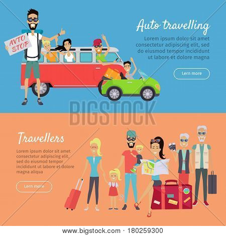 Auto traveling and travelers banners. Happy people waving while driving his car. Family vacation. Grandparents and parents with their children going for summer vacations. Hitchhiking travel