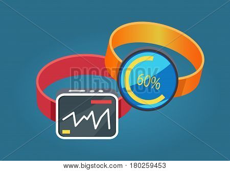 Two smart watches red and yellow colors flat design on blue background. One smartwatch displaying heartbeats and other phone smart watch with download update. Vector illustration in cartoon style.