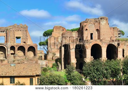 Imperial Palace ancient ruins at the top of Palatine Hill in Rome