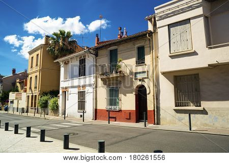 Street without people in the morning. Europe. France Perpignan