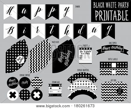 Printable Set for Black and white Party. Handmade cut out