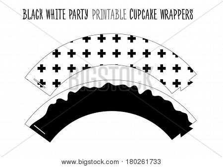 Printable cupcake wrappers for Black and white Party. Handmade cut out