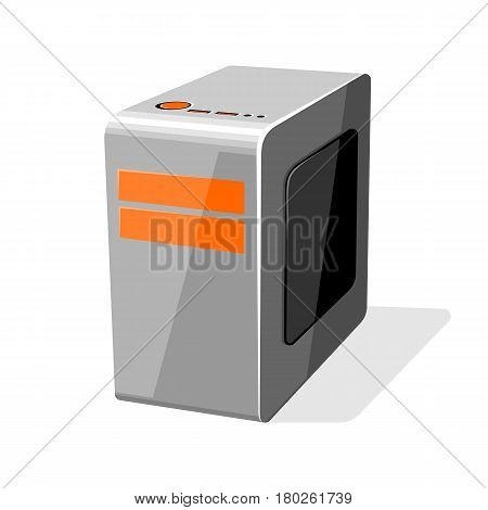 Silver orange case of computer. Gray PC workstation vector illustration