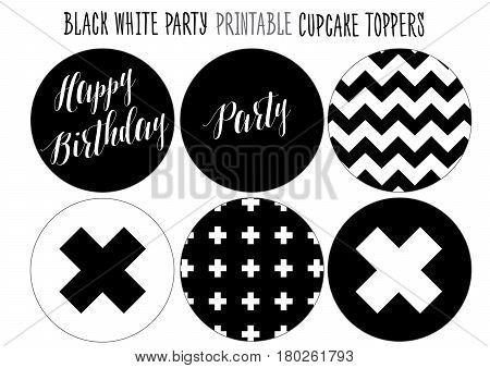 Cupcake wrappers Printable for Black and white Party. Handmade cut out