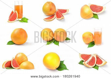 Collection of grapefruit on a white background cutout
