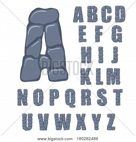 Vector cracked stone alphabet on a white background. Illustration