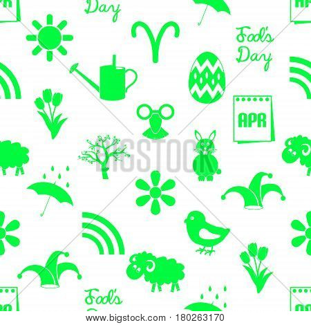 April Month Theme Set Of Simple Green Icons Seamless Pattern Eps10