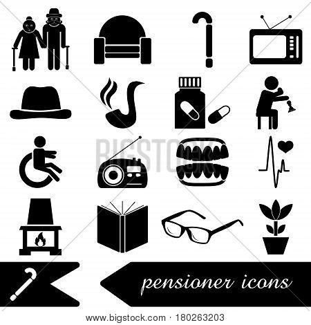 Pensioner Senior Citizen Theme Set Of Icons Eps10