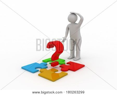 3d people - man person with pieces of puzzle. Confused. 3D rendered illustration