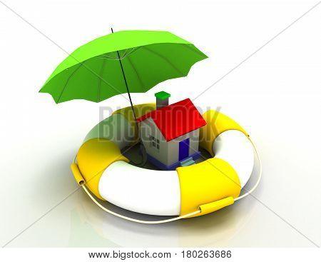 house protection concept. 3d illustration.. rendered illustration