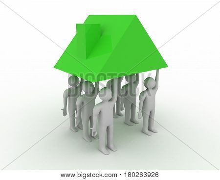 3d Strong team concpept on white background . rendered illustration