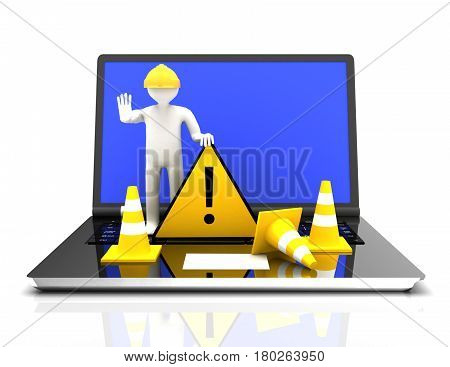 Website under construction with Laptop . rendered illustration