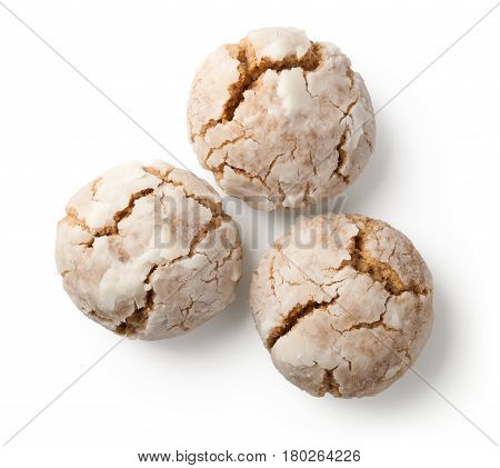 Cracked nut cookies on white background. Top view