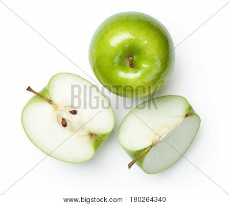 Fresh granny smith apples on white background. Top view poster