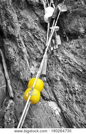 Some fishing tools, leaning against a rock wall along the shores of the Ligurian Sea (Northern Italy).