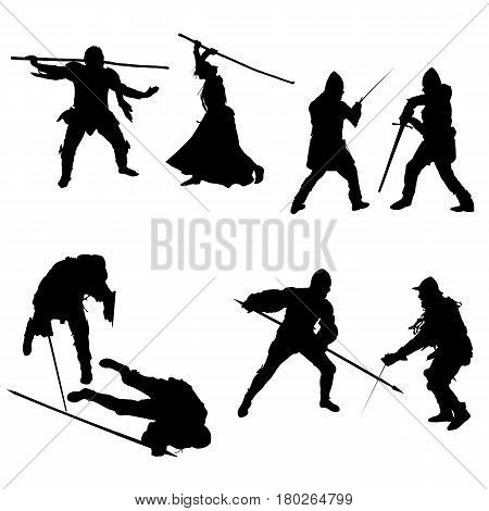 Set of silhouettes of fighters swordsmen lancers men and women in armor with a sword spear and staff isolated on white background - vector