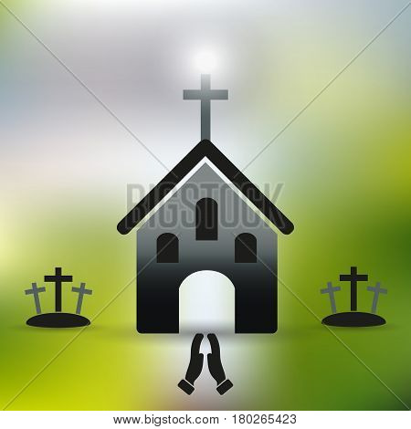 Simple Christian Church With Cross And Praying Hands Eps10