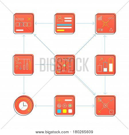 Icon set, process, development, creation, analytics, business, with shifted shadow, from geometric figures, problem solving, problem search, project creation, logic design