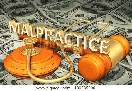 Malpractice Legal Gavel Concept 3D Illustration