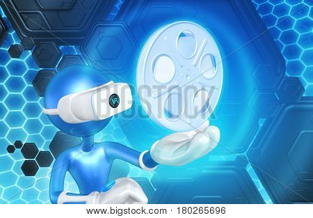 The Original 3D Character Illustration Wearing Virtual Reality Goggles With A Movie Reel